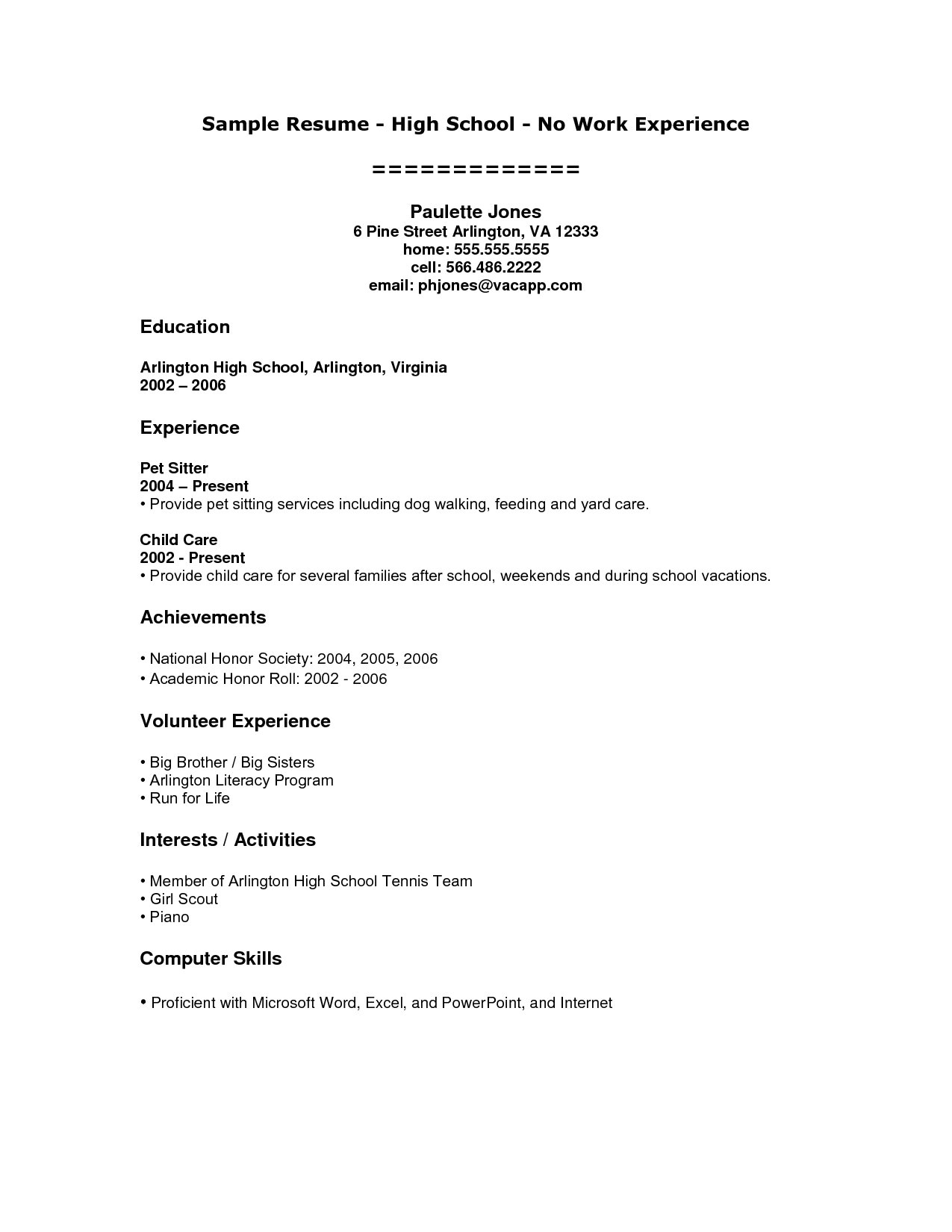 Sample Of Resume for Working Student High School Student Resume Examples No Work Experience