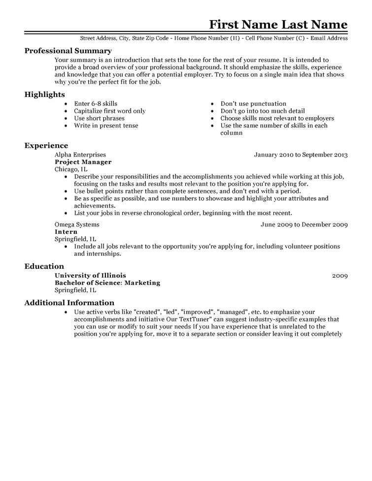 job resume template 2
