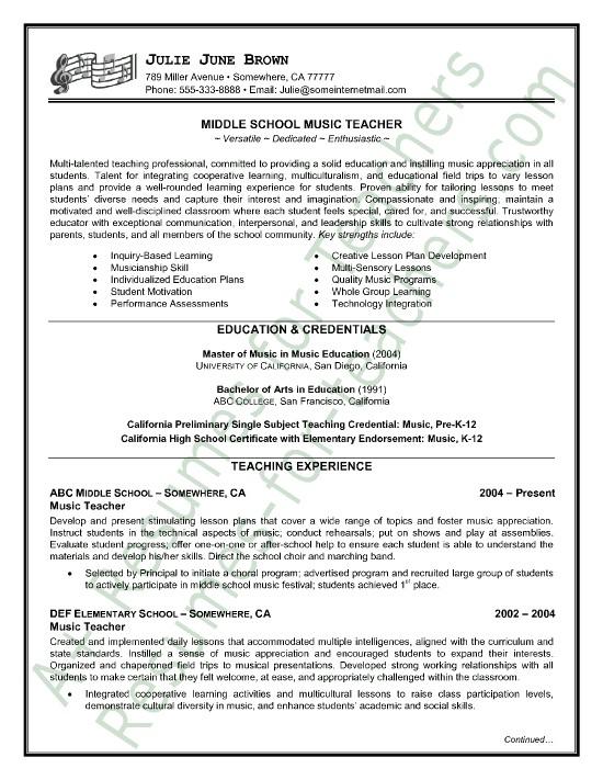 Sample Profile for Teacher Resume Music Teacher Resume Sample