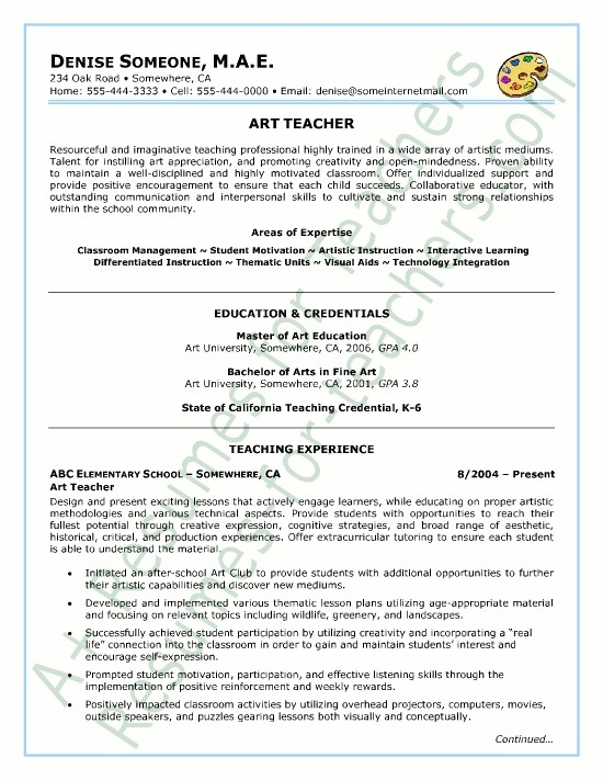 resume for teaching profile