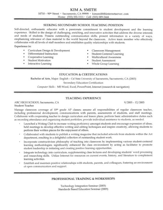 secondary resume example