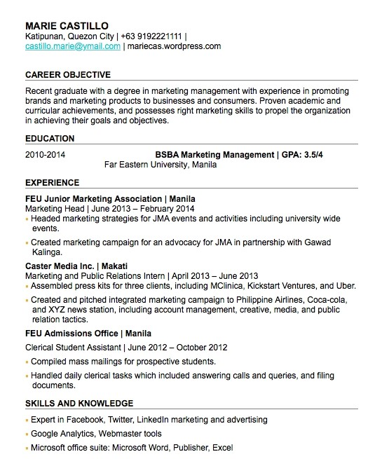 Sample Resume for A Fresh Graduate Objective In Resume for Fresh Graduate Listmachinepro Com