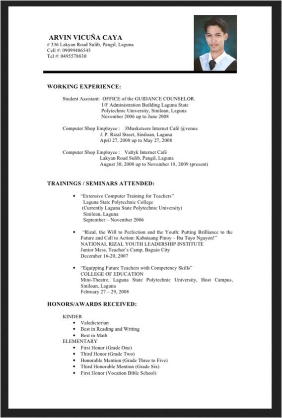 resume sample for fresh graduate philippines