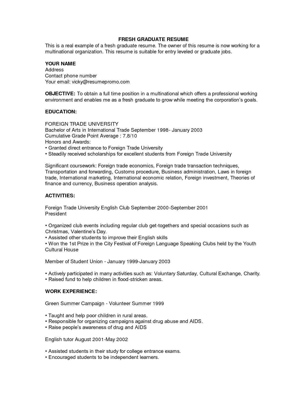 sample resume for fresh graduate without work experience