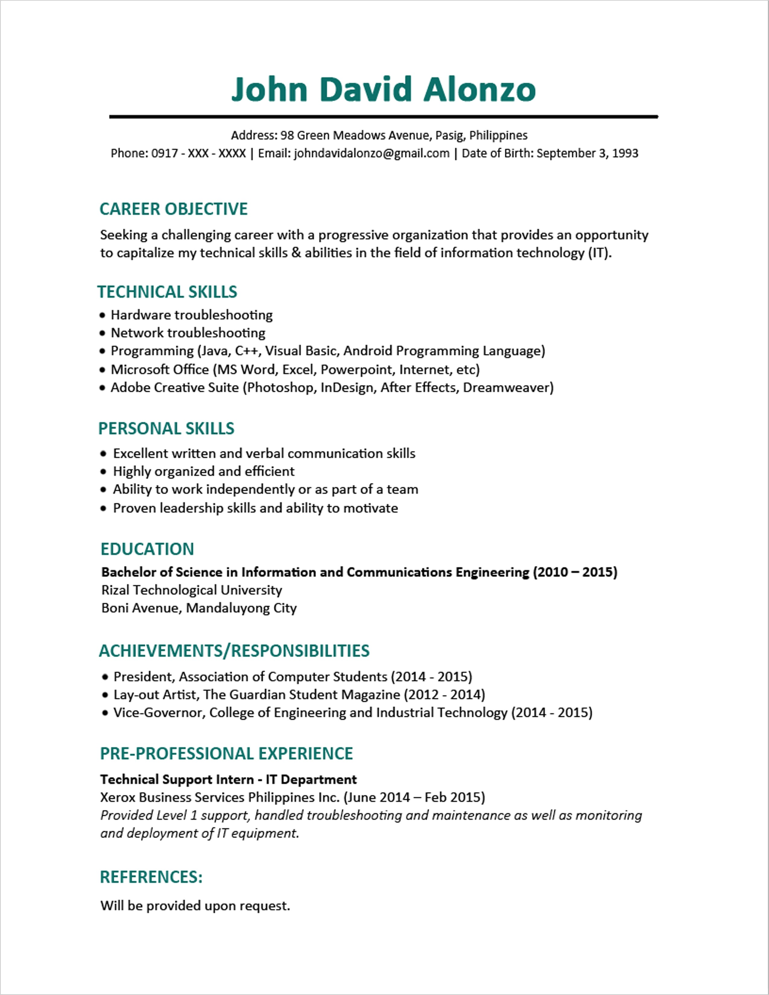 Sample Resume for A Fresh Graduate Sample Resume format for Fresh Graduates One Page format