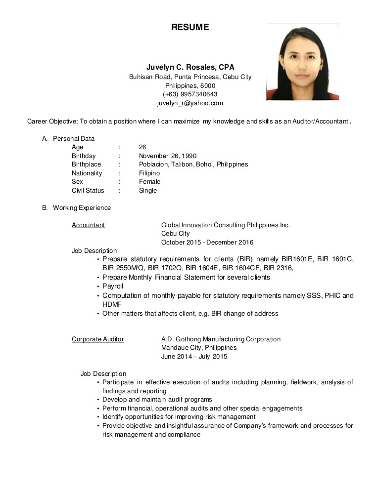 resume in the philippines