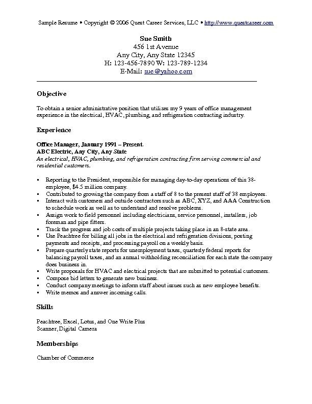 objectives examples for resumes