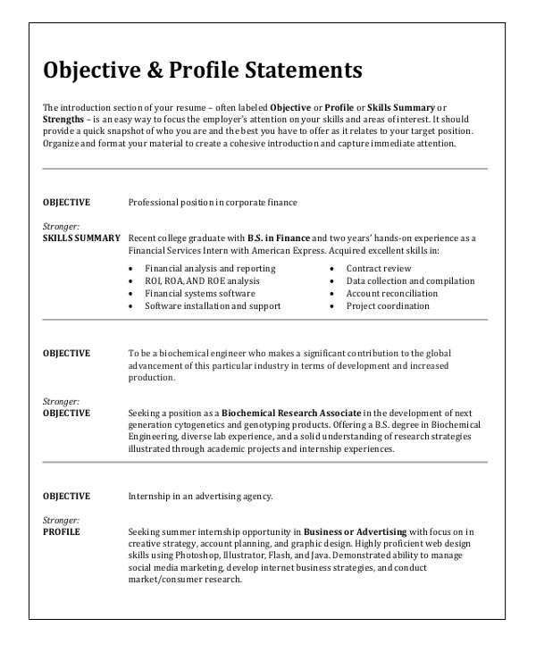 Sample Resume for Any Kind Of Job Sample Resume Objective 6 Examples In Word Pdf