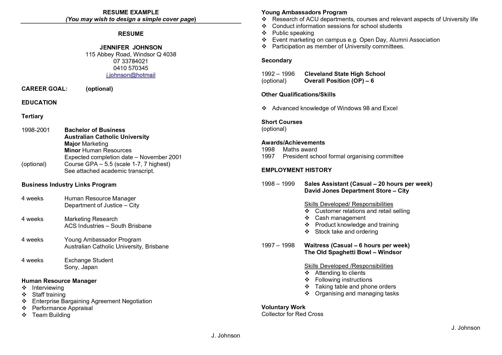 australia resume template
