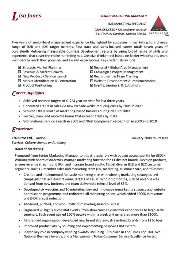manager resume template australia