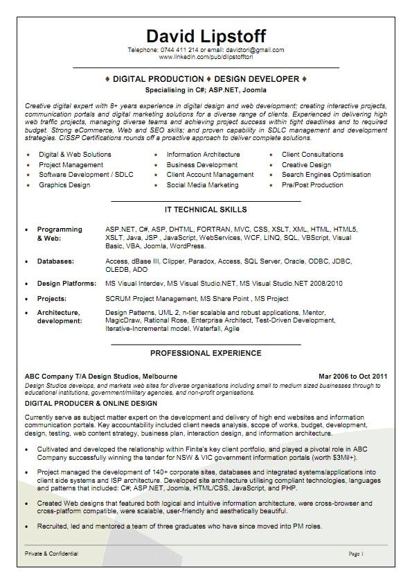 sample resume for australian jobs