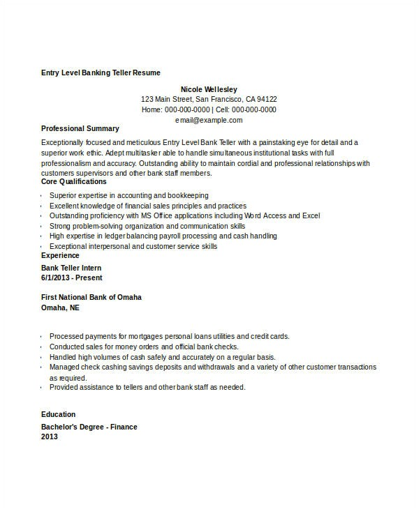 Sample Resume for Bank Teller at Entry Level Free Banking Resumes 43 Free Word Pdf Documents