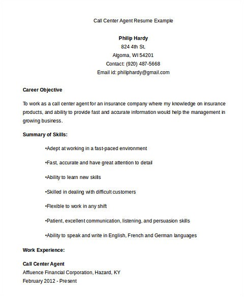 Sample Resume for Call Center Agent Applicant Call Center Resume the Key Success for the Applicants