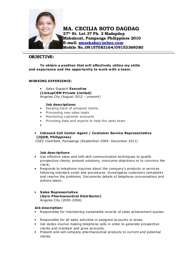 Sample Resume for Call Center Agent Applicant Cecile Resume
