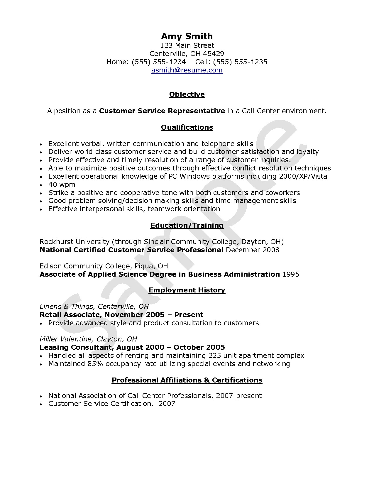 sample resume objective for call center agent