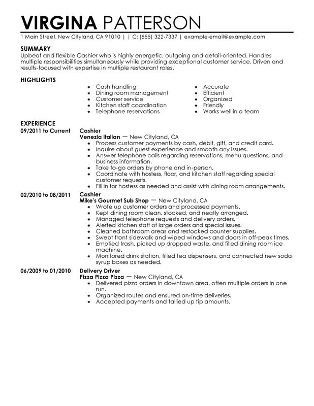 Sample Resume for Cashier In Restaurant Cashier Resume Examples Free to Try today Myperfectresume