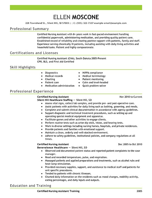 Sample Resume for Cna with Objective Certified Nursing assistant Resume Objective Examples