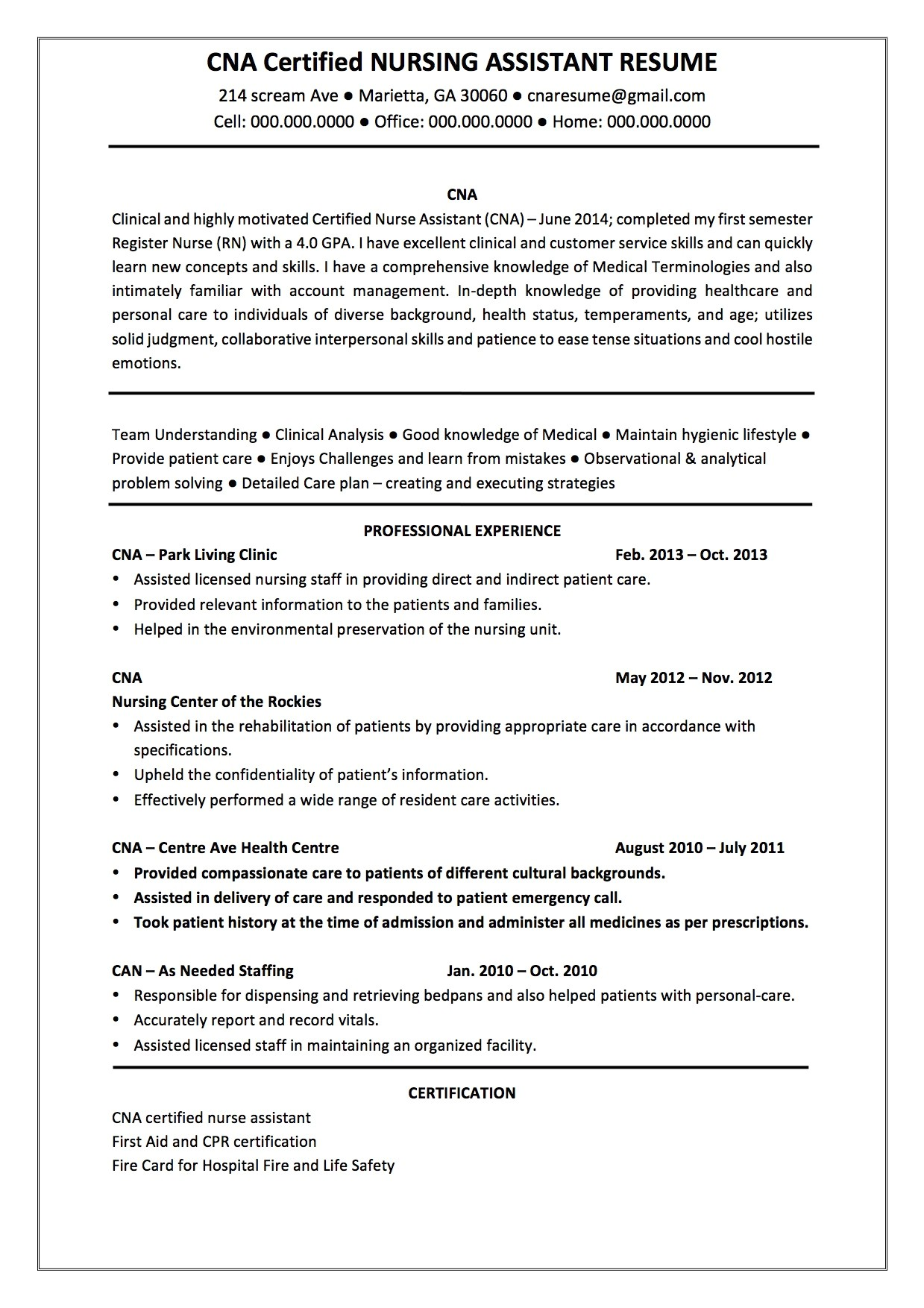 certified nursing assistant resume objective ups shipping search resumes 24549
