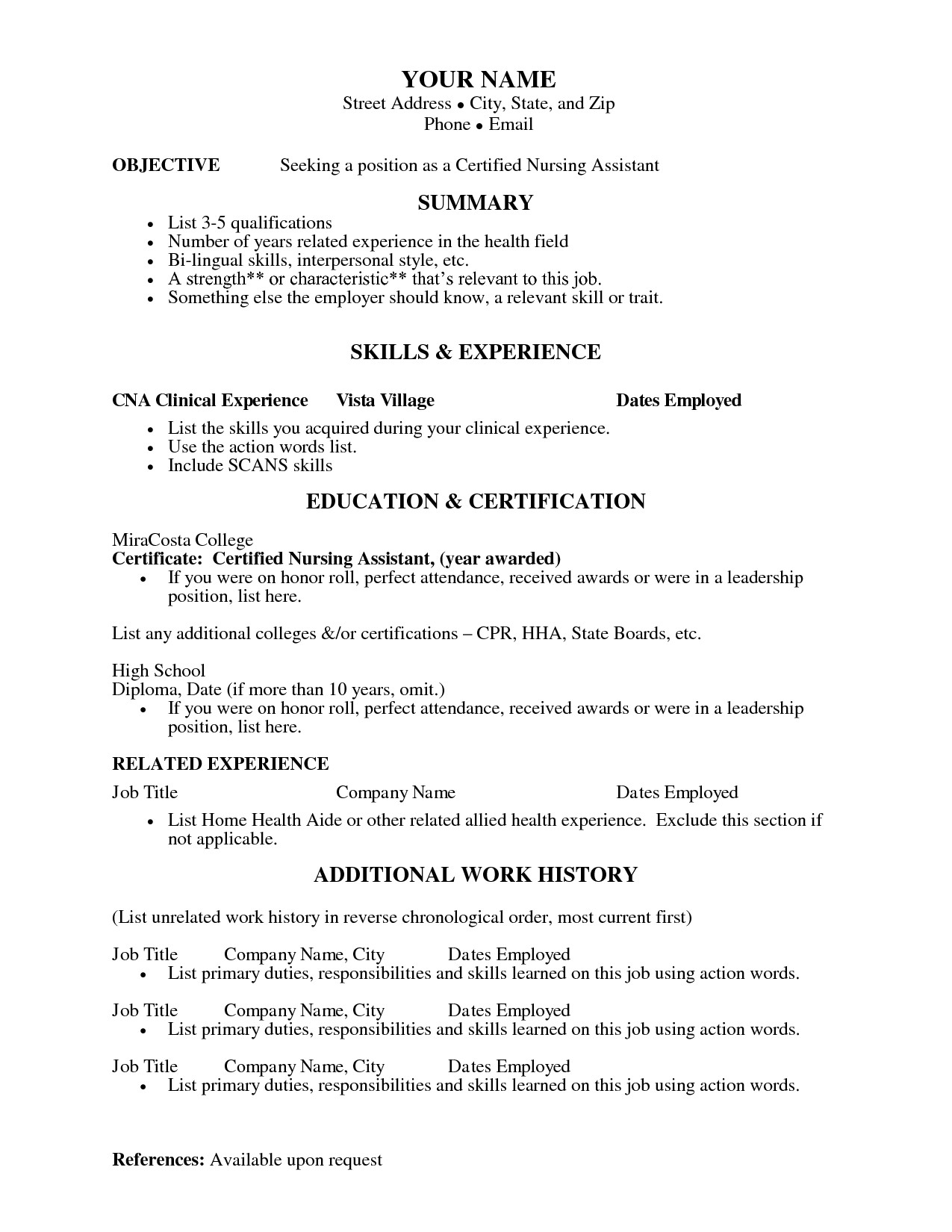 Sample Resume for Cna with Objective Cna Resume Templates Health Symptoms and Cure Com
