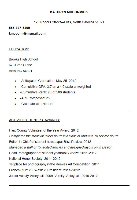 Sample Resume for College Application 10 College Resume Templates Free Samples Examples