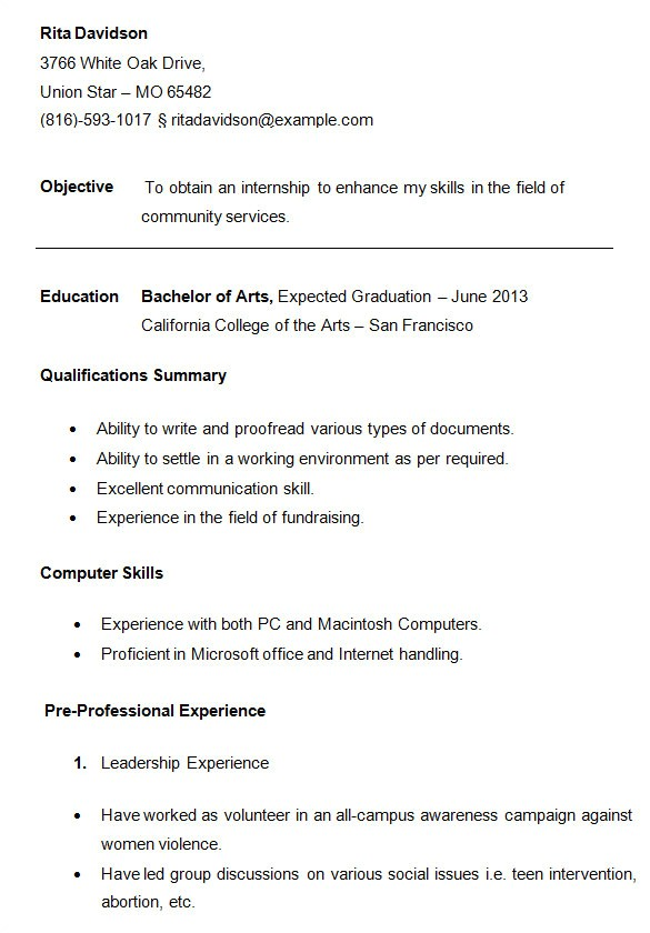 student sample resume templates