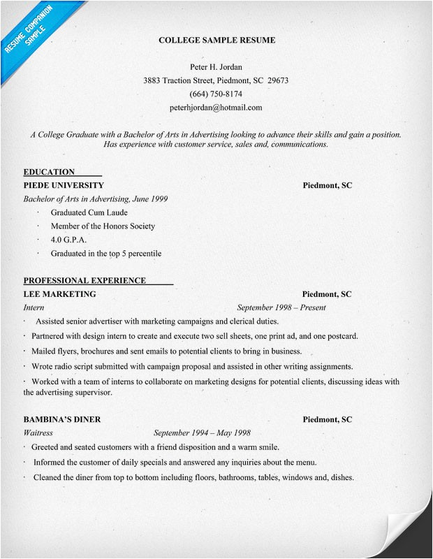 example resume of college student
