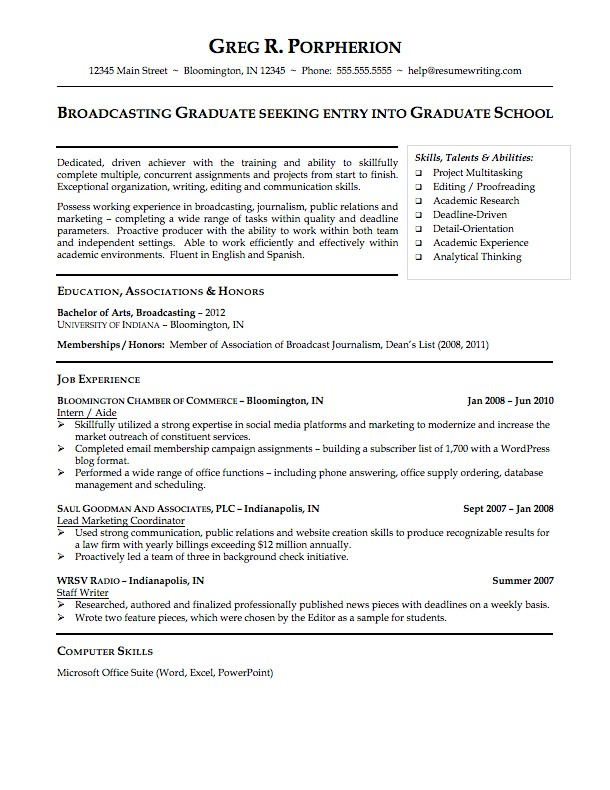 Sample Resume for College Student Sample Resumes Resumewriting Com