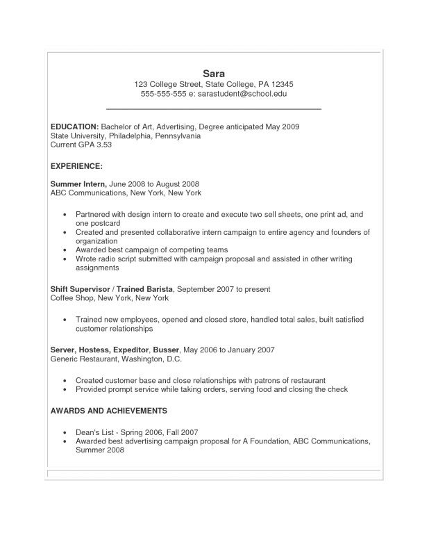 Sample Resume for College Students Still In School Sample Resume for College Students Still In School