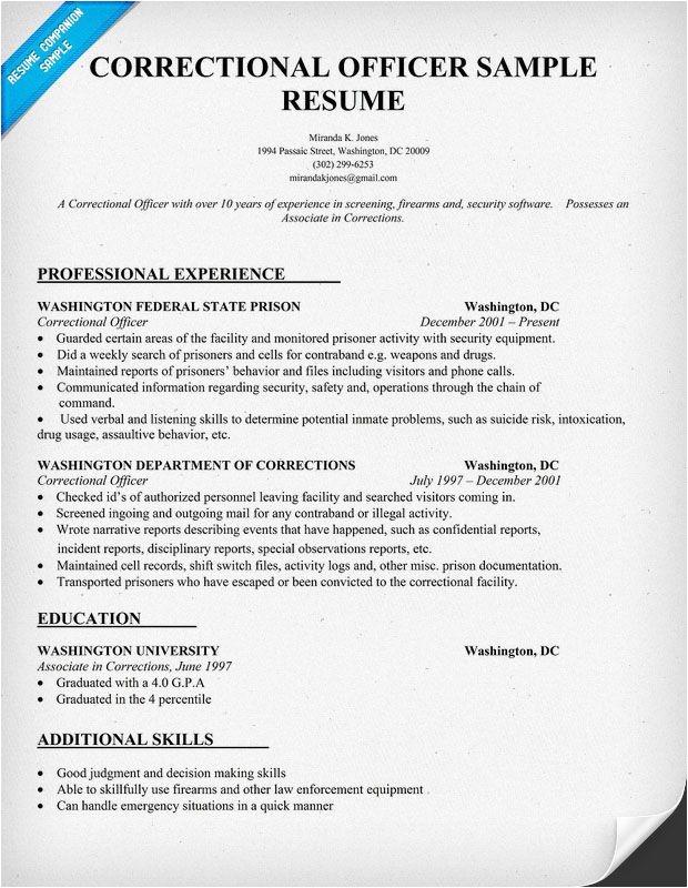 Sample Resume for Correctional Officer Correctional Officer Resume Sample Law Resumecompanion