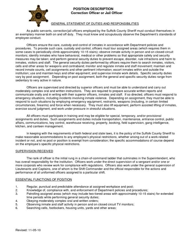Sample Resume for Correctional Officer Make A Correction Officer Duties Resume Federal