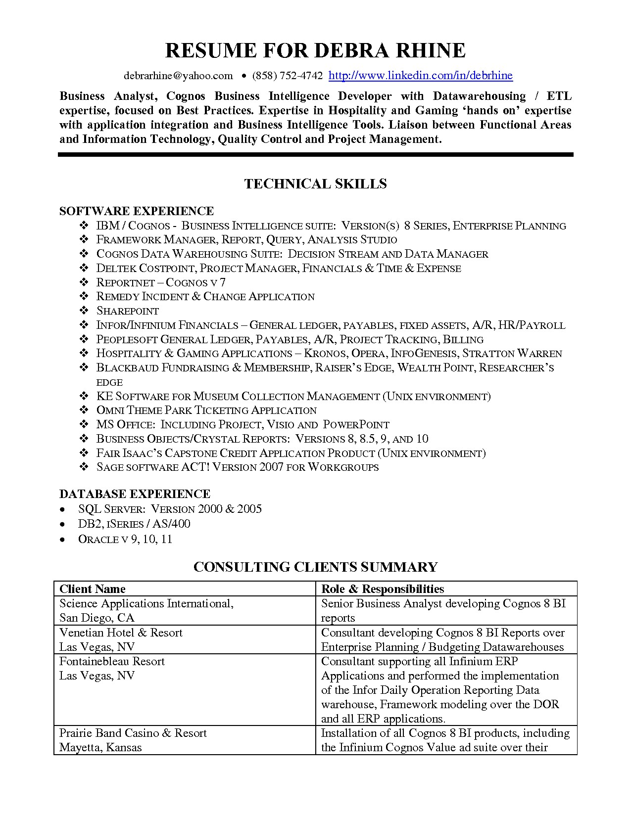 data warehouse analyst resume