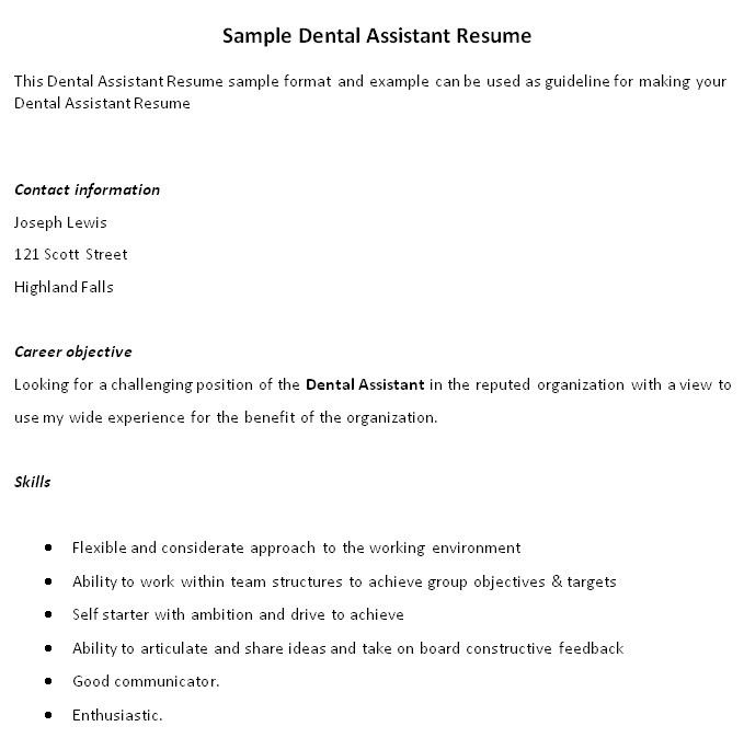 Sample Resume for Dental assistant with No Experience Resume Template Dental assistant Brianhans Me