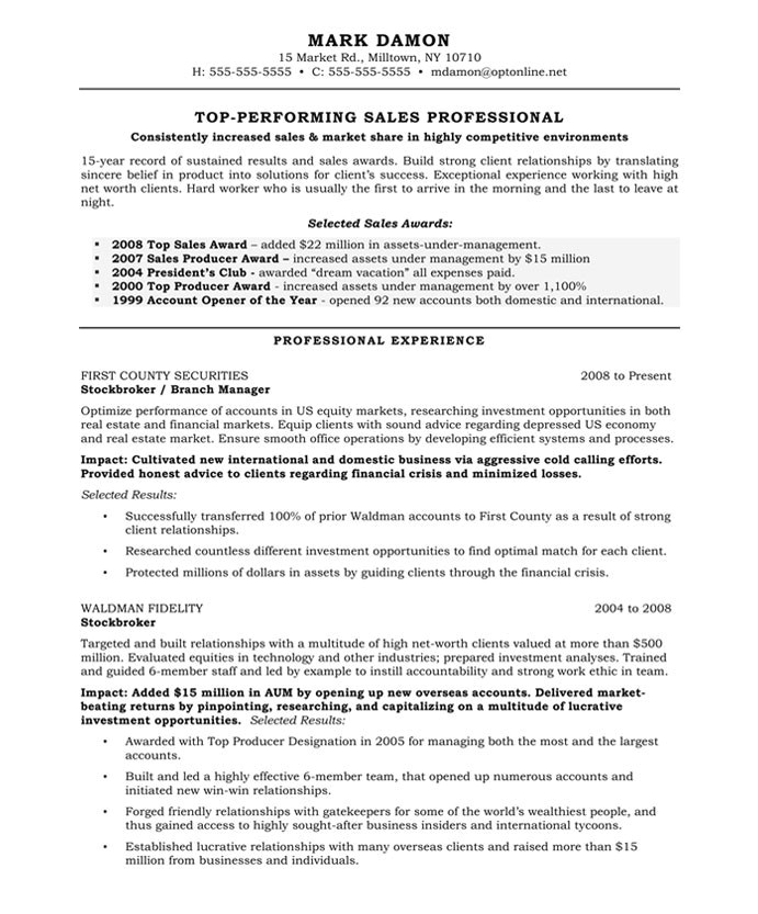 example resume template for sales professional with professional experience