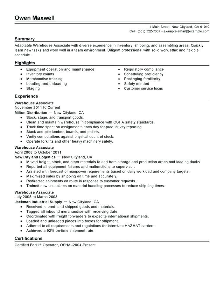resume for factory worker