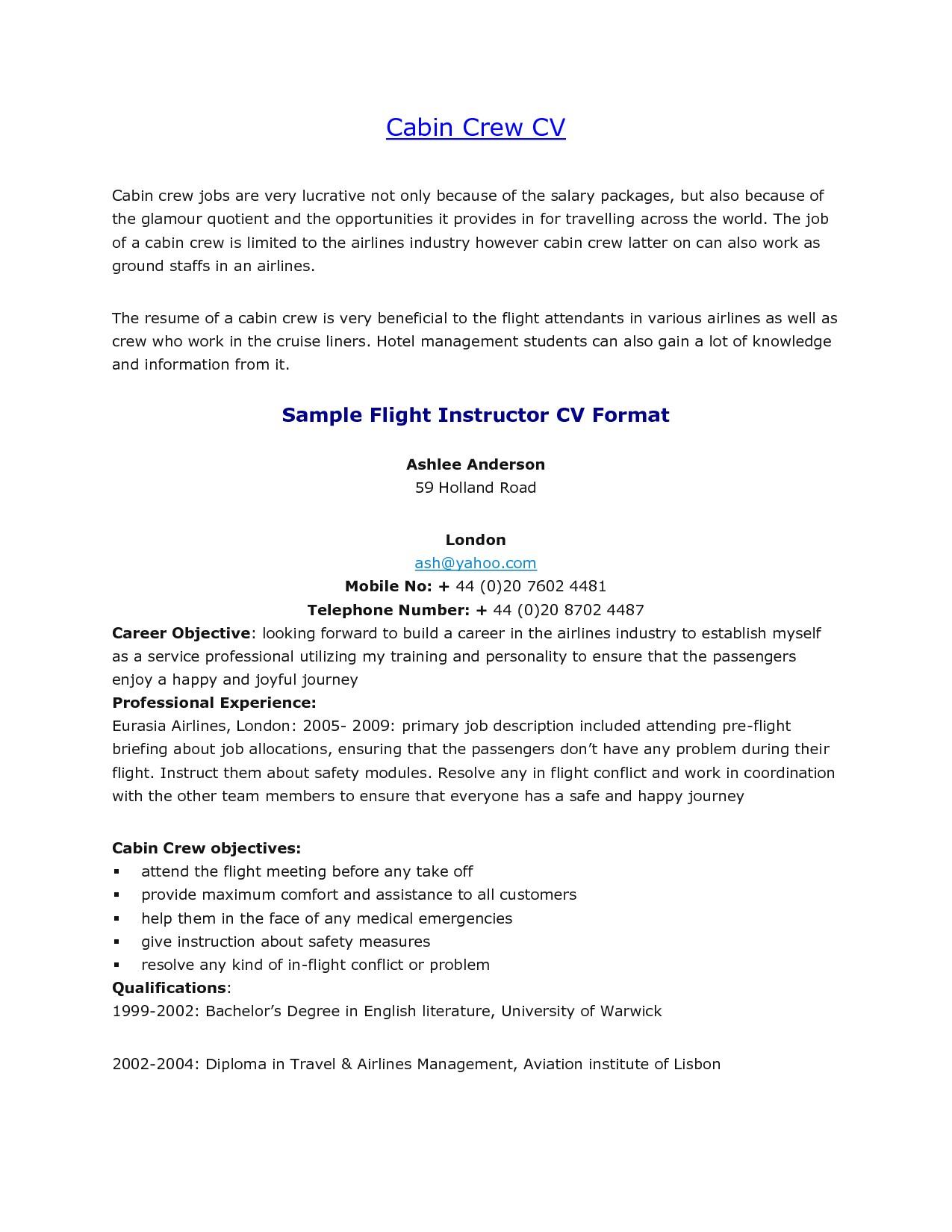 Sample Resume for Flight attendant Position Flight attendant Resume No Experience Sample Experience