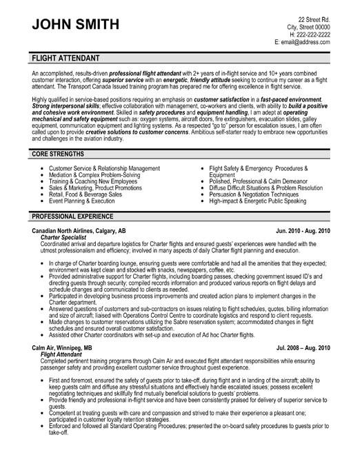 Sample Resume for Flight attendant Position Flight attendant Resume Sample Template
