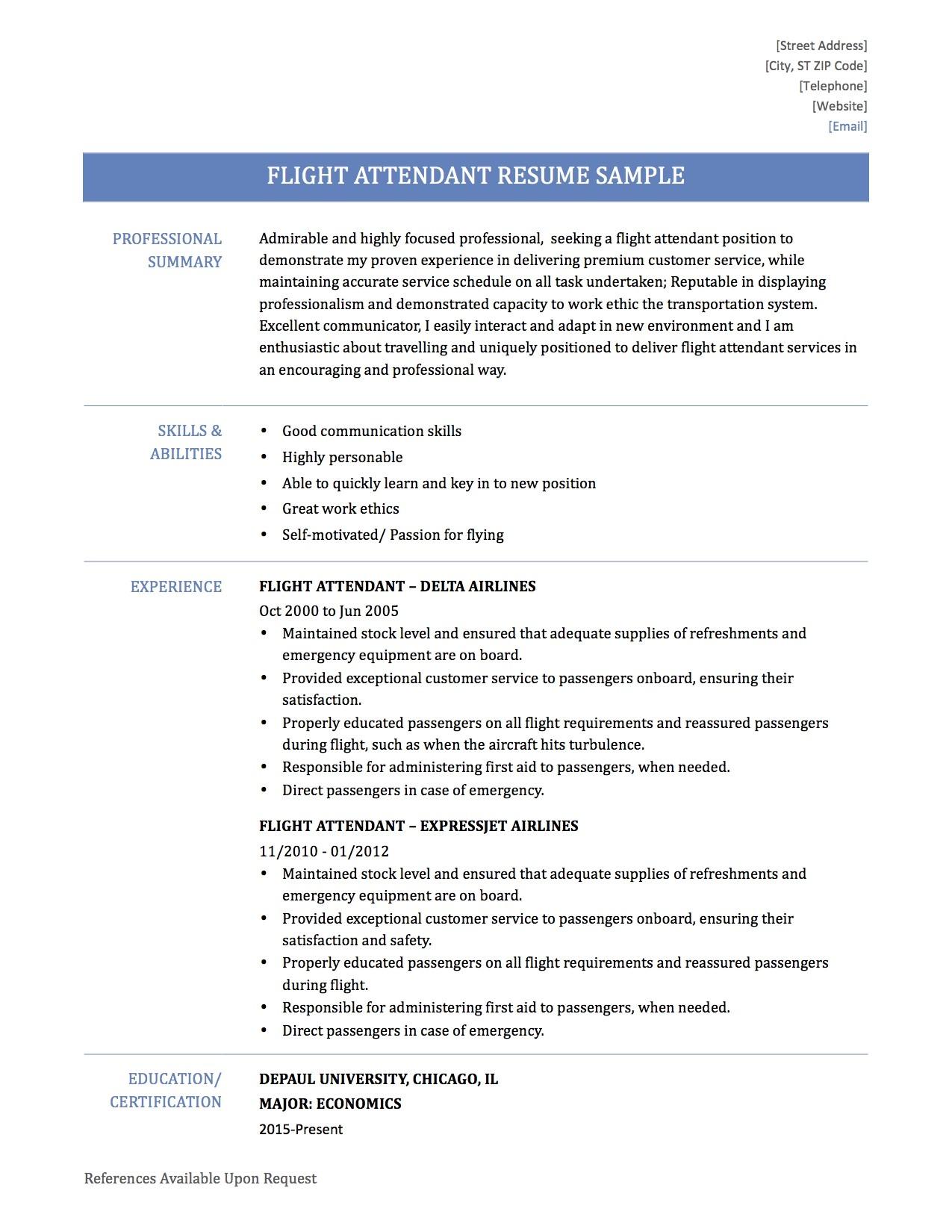objective for flight attendant resume