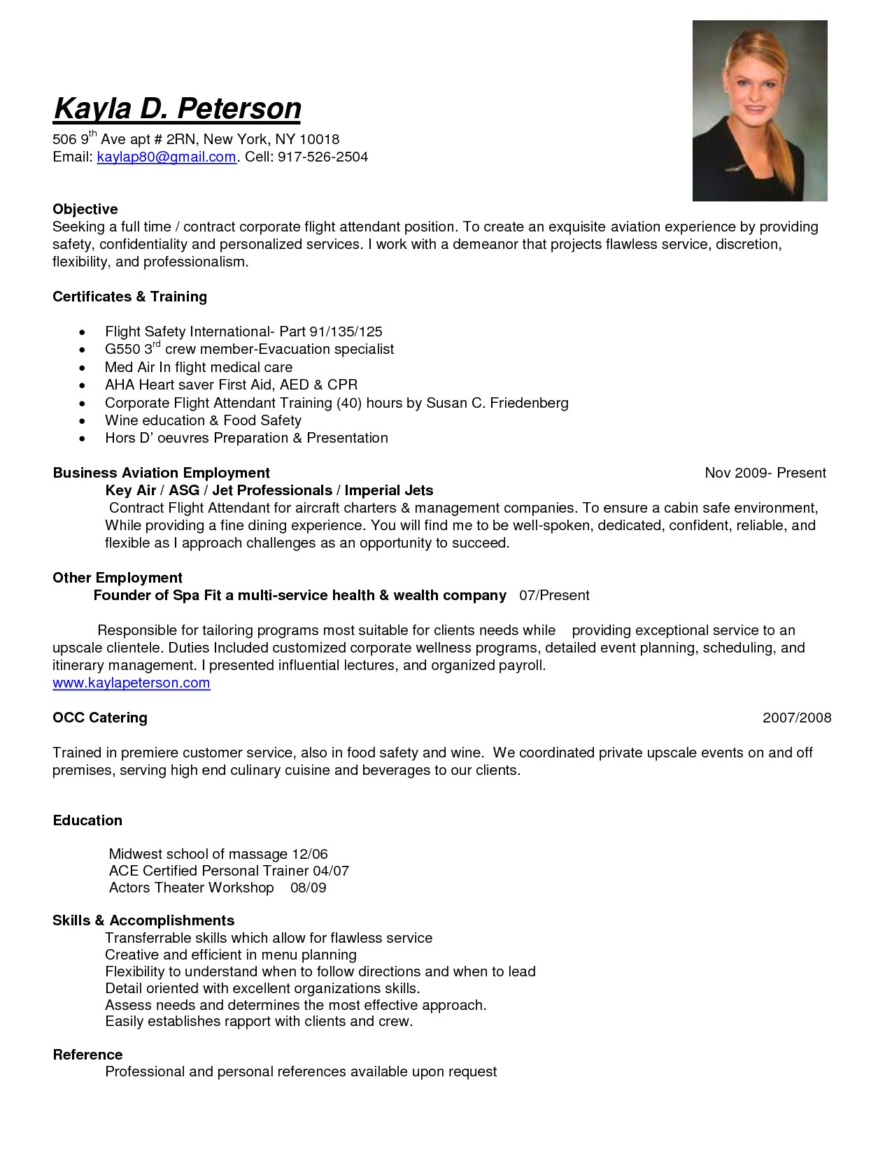 sample objective full time corporate flight attendant job position resume include list certification and t