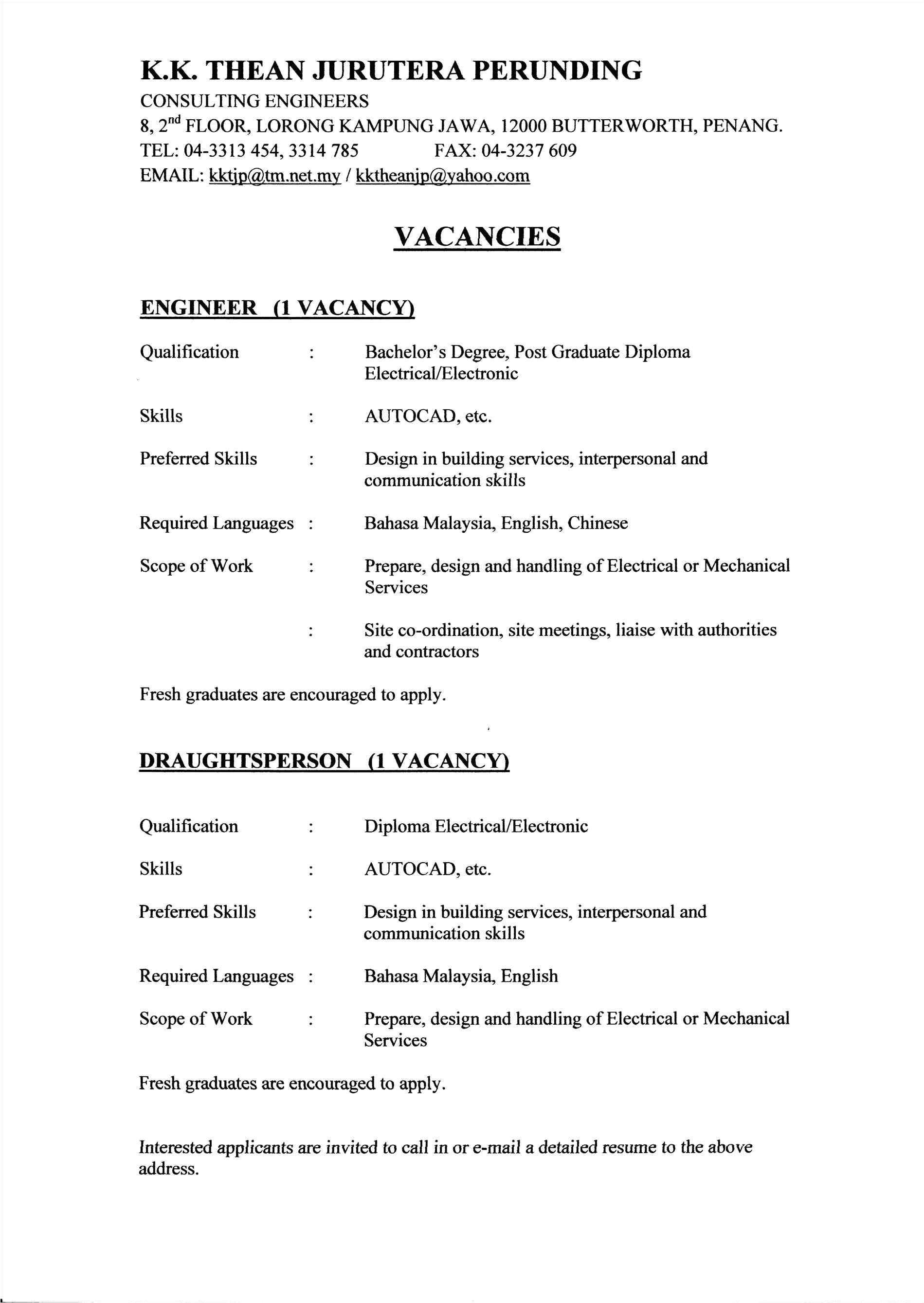 resume for civil engineering fresh graduate