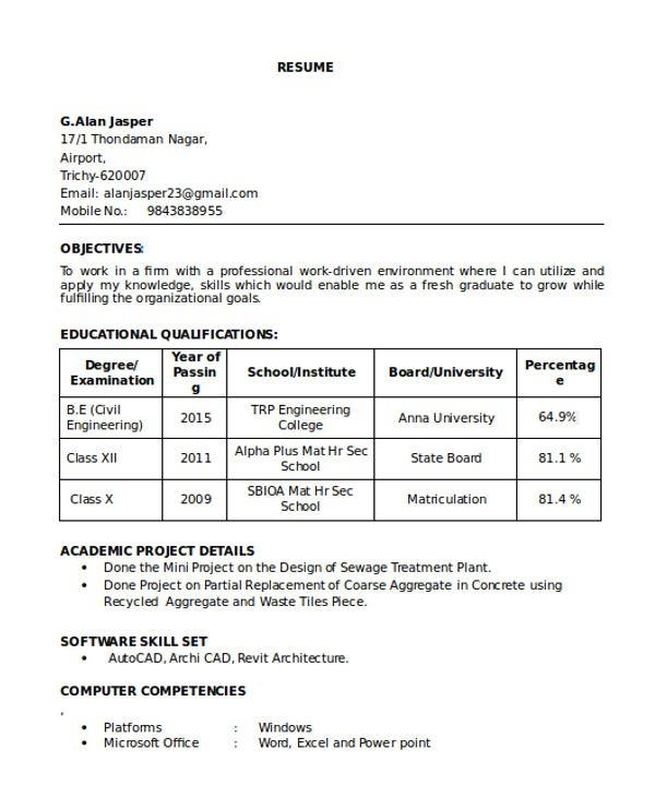 sample cv civil engineering graduate