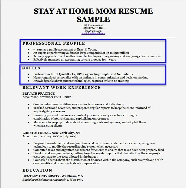 Sample Resume for Homemaker Returning to Work Cover Page Resume for Stay at Home Mom Resume Template