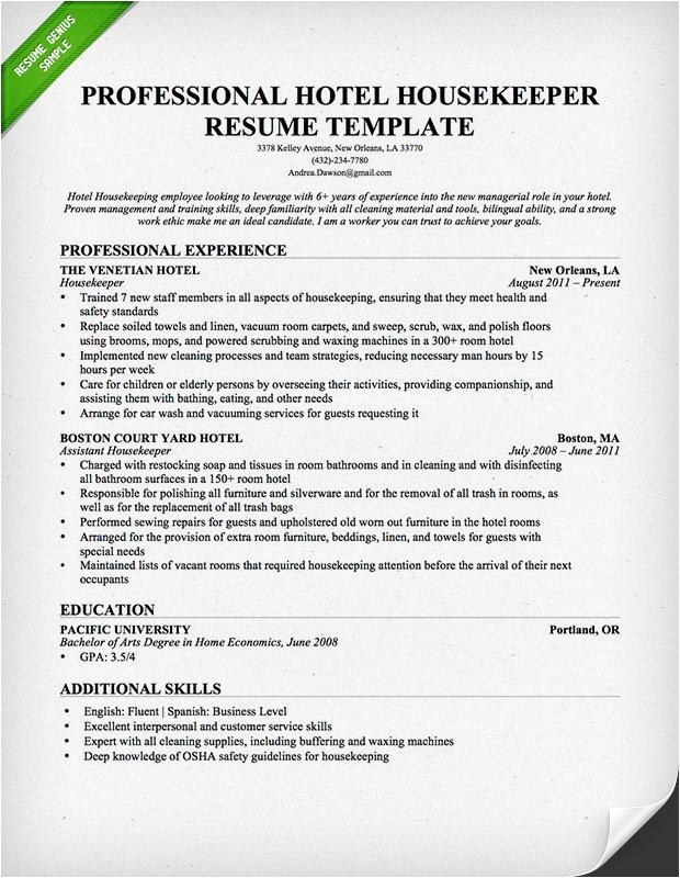 housekeeping and cleaning resume example