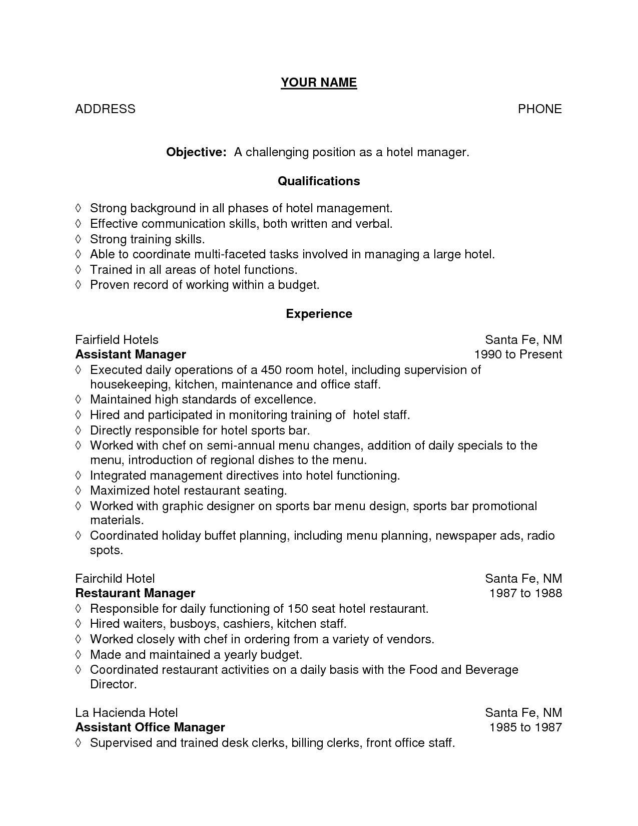 sample resume for housekeeping job in hotel