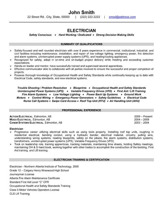 Sample Resume for Industrial Electrician Click Here to Download This Electrician Resume Template