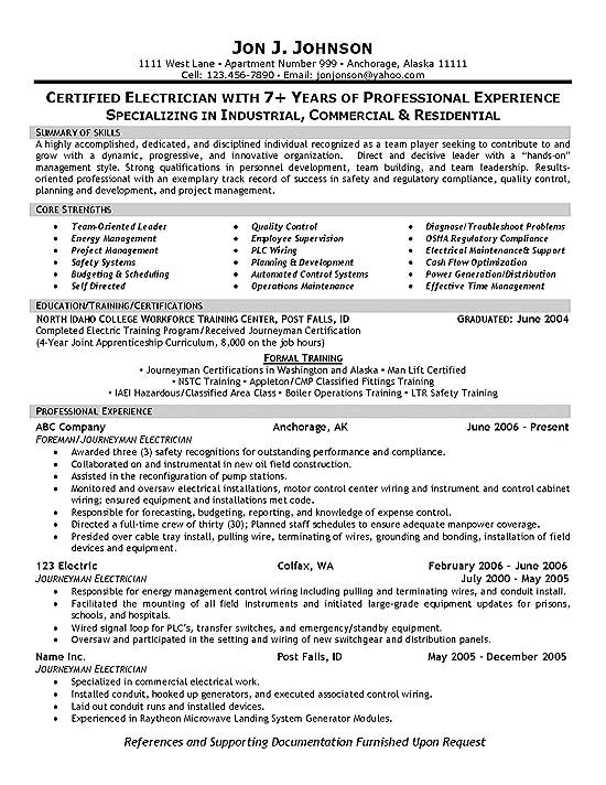 electrician resume example