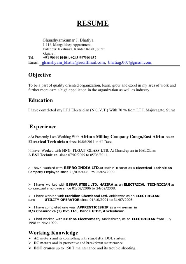 Sample Resume for Industrial Electrician G Resume