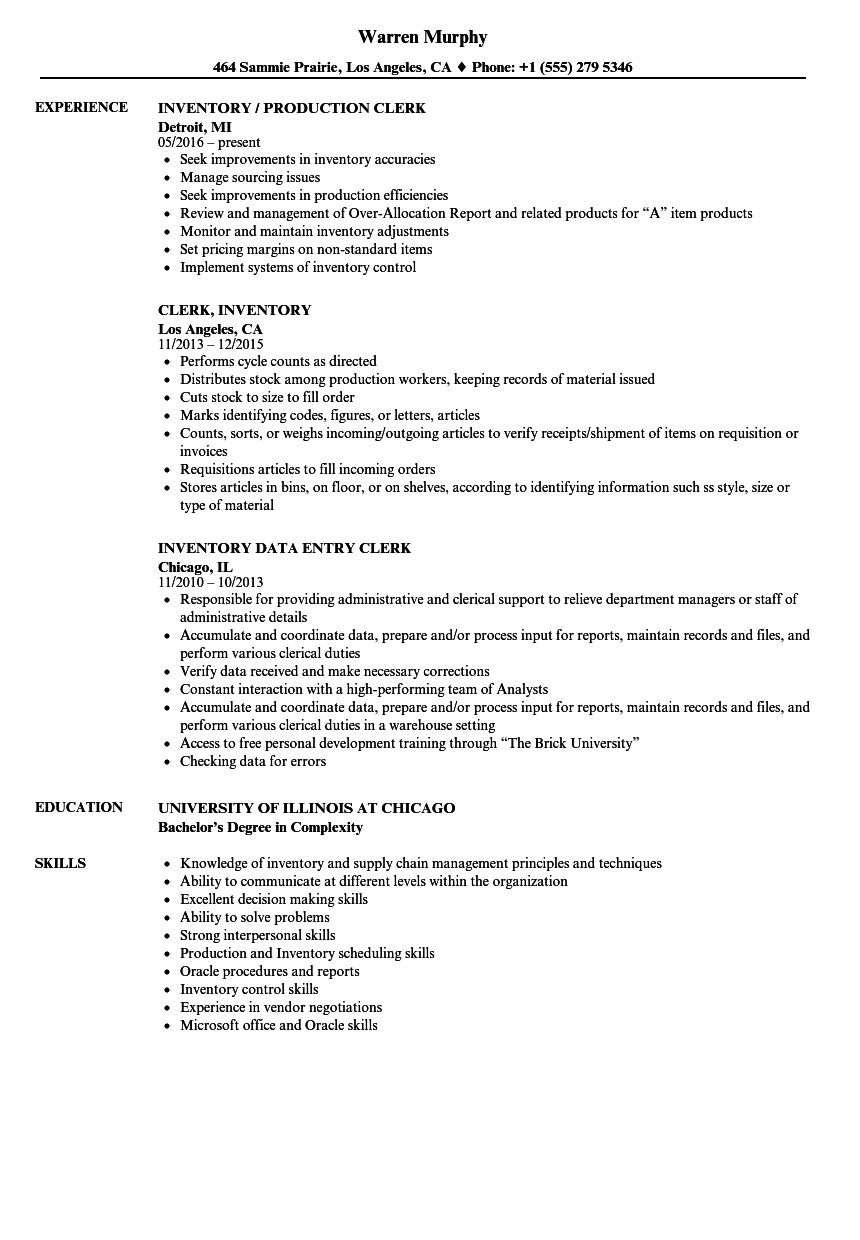 clerk inventory resume sample