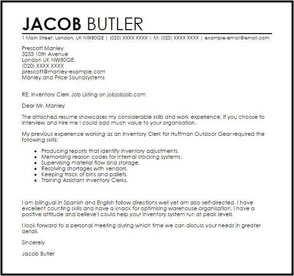 Sample Resume for Inventory Clerk Inventory Clerk Cover Letter Sample Livecareer