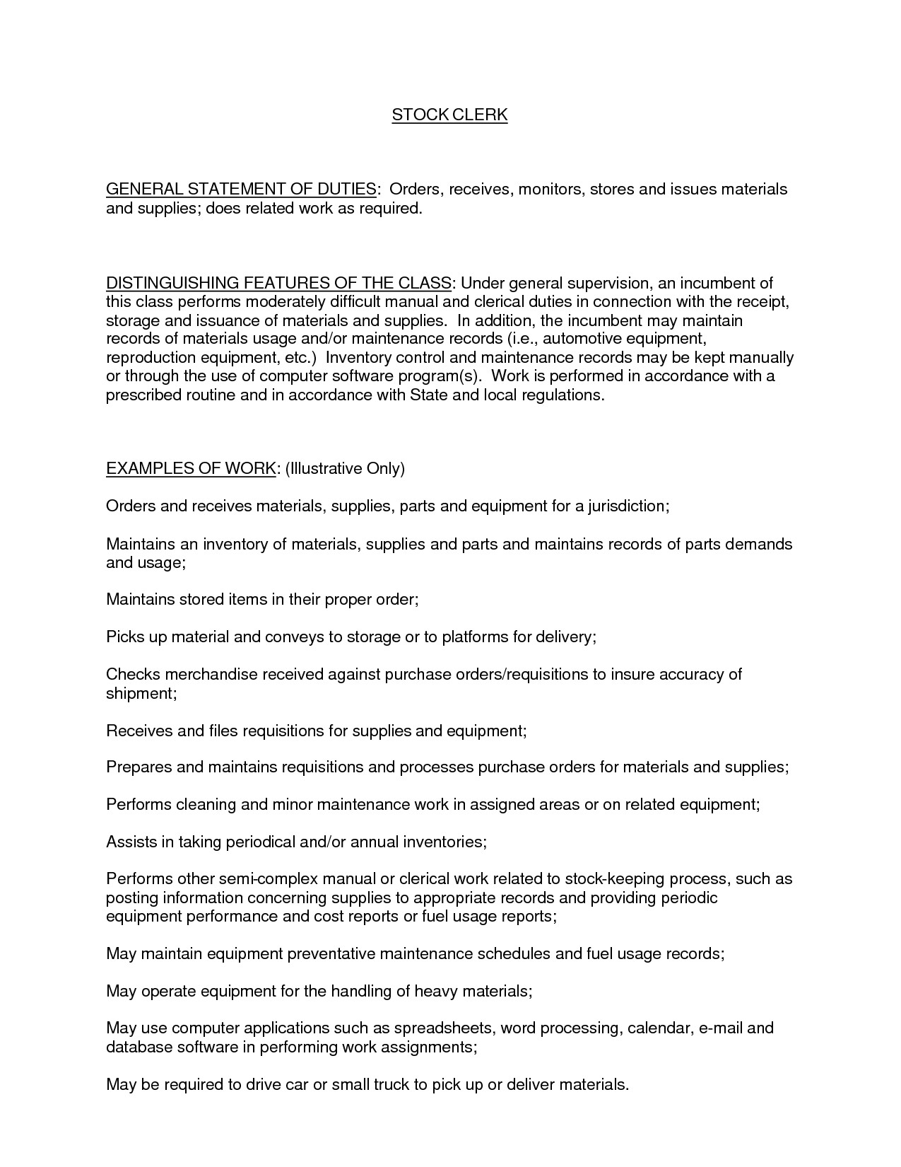 Sample Resume for Inventory Clerk Inventory Clerk Job Description for Resume Annecarolynbird