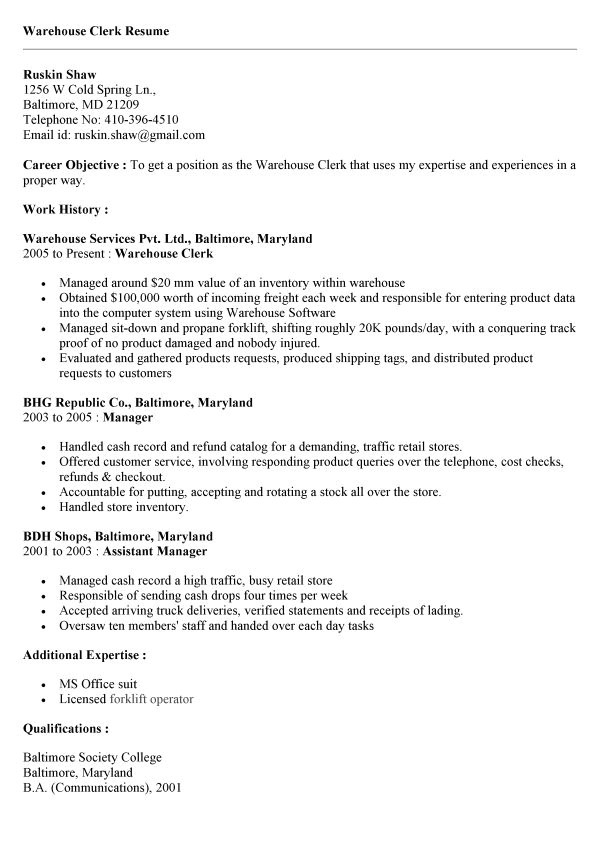 inventory clerk job description for resume